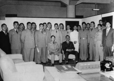 Supreme Master Kim Bok Man (fourth from right) and members of the historic first Korean National Armed Forces Taekwon-Do Demonstration Team pose in Korea, 1959, before departing for South Vietnam and Taiwan. The Demonstration Team represented all branches of the Korean military, including the Army, Air Force, and Marines.