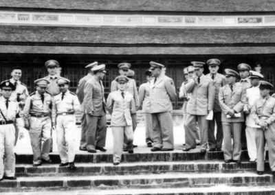 Supreme Master Kim Bok Man (fourth from the left, with white cravat) and members of the historic first Korean National Armed Forces Taekwon-Do Demonstration Team pose in Vietnam, 1959, before returning to Korea. The Demonstration Team represented all branches of the military, including the Army, Air Force, and Marines.
