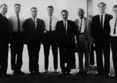 Supreme Master Kim Bok Man (fourth from the left) and First Grand Master Rhee Ki Ha (second from left) pose with Korean Minister Lee Suk Jae (center) in Singapore, 1964. In 1957 during his National Service in the ROK Army, FGMR Rhee Ki Ha was transferred to the 35th Infantry Division, where he met Sergeant Major Bok Man Kim and Captain Nam Tae Hi, his first Taekwon-Do instructors. FGMR Rhee Ki Ha was the first person promoted to 9th Dan Grand Master by General Choi Hong Hi, Father and principal founder of Taekwon-Do, on July 1, 1997 in Saint Petersburg, Russia.