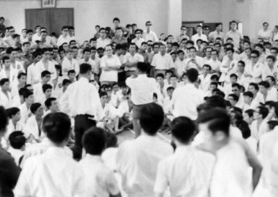 Supreme Master Kim Bok Man gives an instructional seminar to students of the Singapore Taekwon-Do Association after a promotion test in February, 1968. Grand Master Kim Bok Man was the first Korean instructor of Taekwon-Do in Singapore.