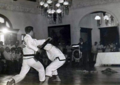 Supreme Master Kim Bok Man defends against a bayonet attack by Bong Suk Kun during a Taekwon-Do demonstration for President Ferdinand Marcos at Malacañang Palace, the official residence and workplace of the President, in Manila, Philippines, August 15, 1970.