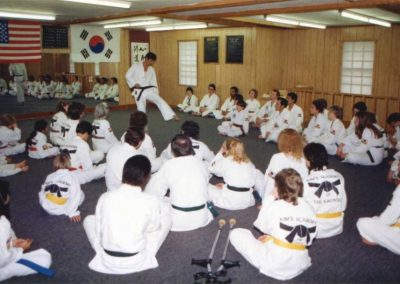 Supreme Master Kim Bok Man demonstrates advanced Chun Kuhn Do (Taekwon-Do) techniques during a seminar in Missouri, U.S.A., 1985.