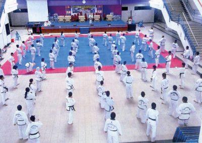 Supreme Master Kim Bok Man leads a black belt seminar in Chun Kuhn Taekwondo advanced techniques during a seminar in Pinang, Malaysia, December 12, 2010.