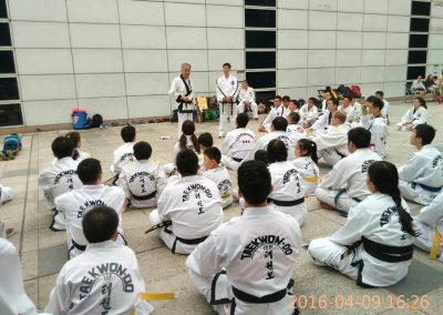 Supreme Master Bok Man Kim teaches during a series of historic seminars in China in 2016 at the invitation of Master Steward Cheong. Supreme Master Kim, assisted by Grandmaster Swope, spent several weeks teaching seminars in southeast China.