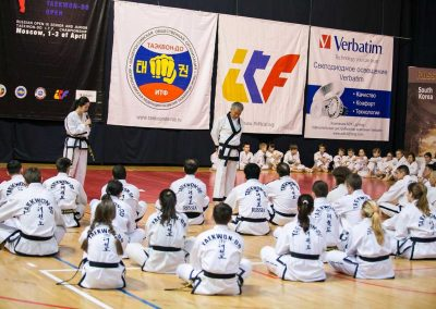Supreme Master Bok Man Kim talks to students at seminar in Moscow, Russia, in April 2016. The seminar was hosted by the Russian Taekwon-do Federation.
