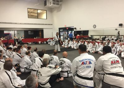 Supreme Master Kim Bok-Man teaches during a seminar in Plano, Texas, in October 2018 for the United Taekwondo Alliance (UTA) at the invitation of Master Raymond Saint and Grandmaster Jason Wadley.