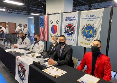 Supreme Master Kim & Grandmaster Brad Shipp preside over black belt testing